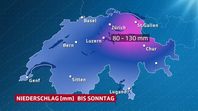 Die Nordostschweiz wird am stärksten betroffen sein. Innerhalb von drei Tagen soll die Regenmenge eines Monats fallen.