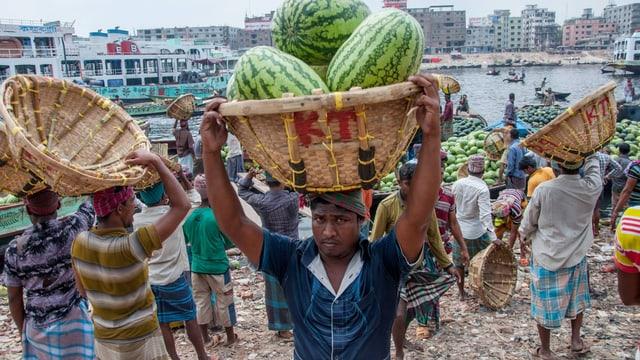 Männer tragen Melonen in Körben auf ihren Köpfen.