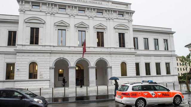 Aussenansicht des Bundesstrafgerichts in Bellinzona bei Regen. Ein Polizeiauto davor.