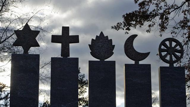 Aufnahme eines Grabfelds mit den Symbolen aller 5 Weltreligionen