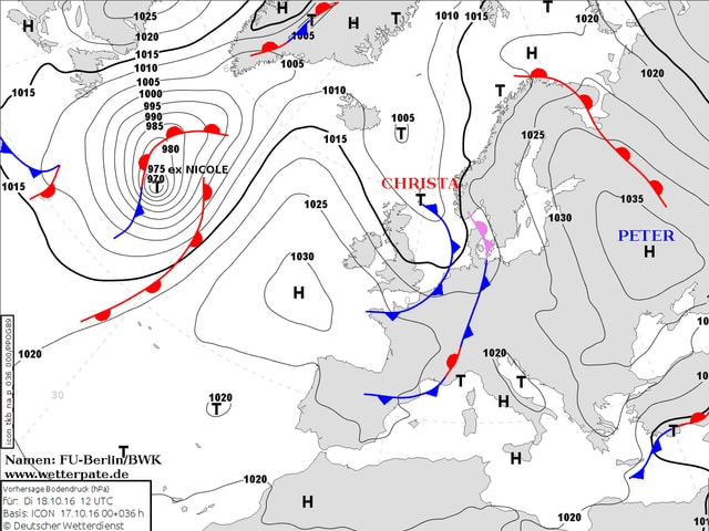 Bodenwetterkarte mit den Hoch- und Tiefdruckgebieten über Europa.