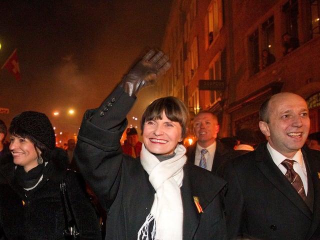 Micheline Calmy-Rey in Genf unterwegs