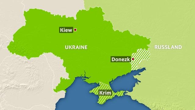 Karte Ukraine und Russland.