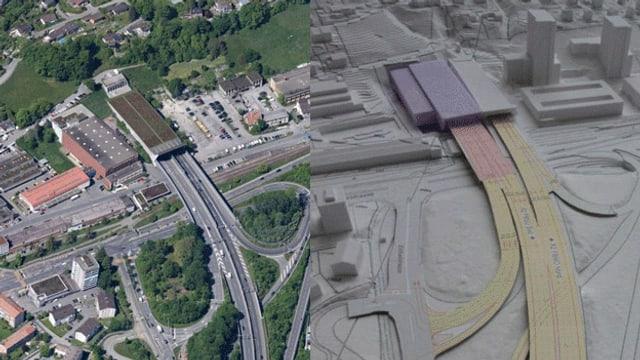 Sonnenberg-Südportal der A2 heute und in Zukunft.