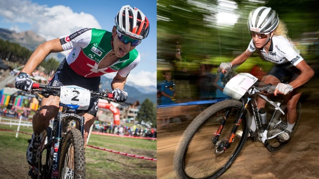Nino Schurter und Jolanda Neff auf einem zweigeteilten Bild, beide während einem Mountainbikerennen