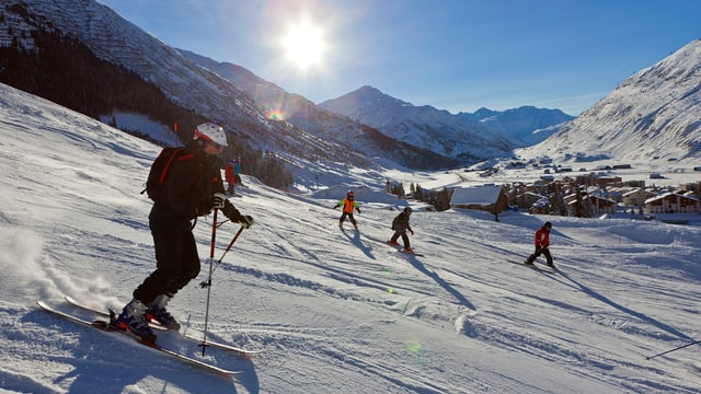 Skifahrer in Andermatt.