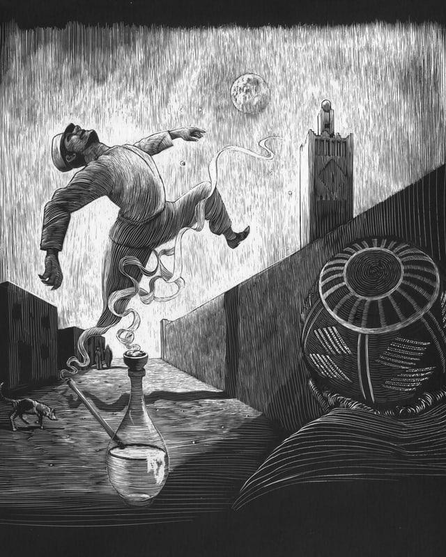 Szenerie Teetisch: Ein Mann fliegt davon, in die Höhe