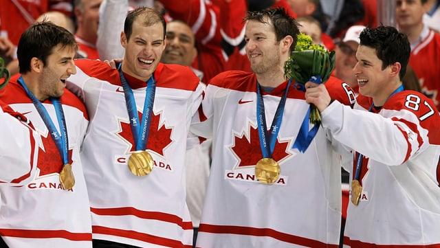 NHL-Stars wie (von links) Bergeron, Getzlaf, Nash und Crosby werden auch 2014 für Olympia freigestellt.