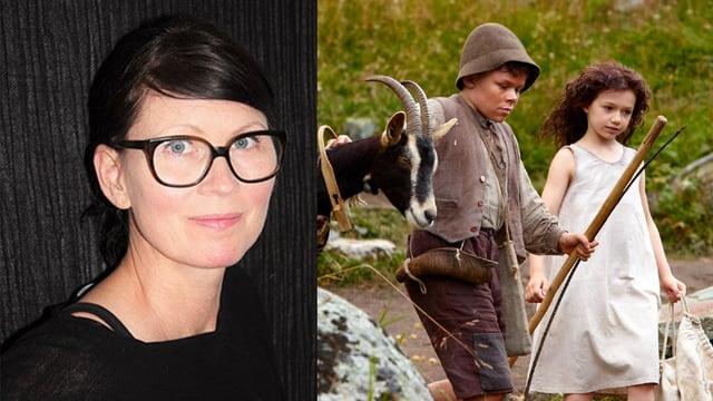 geteiltes Bild; auf der linken Seite ein Porträt von Frau mit Brille, auf der rechten Seite Heidi und der Geissenpeter auf einer Wiese