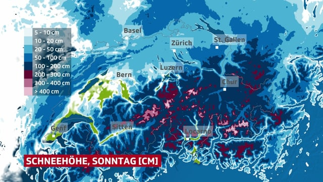 Schneehöhenkarte der Schweiz.