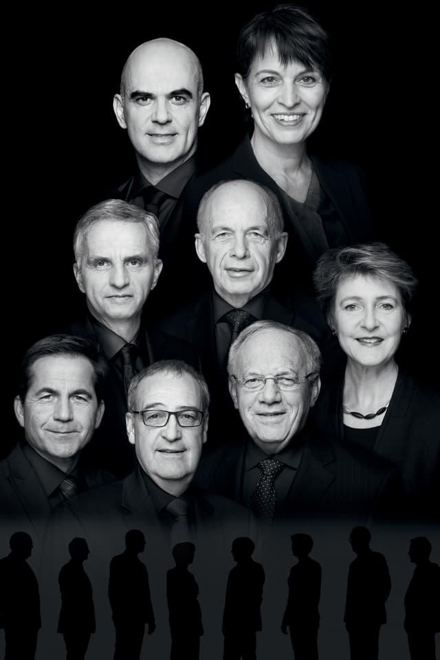 Die Köpfe Bundesräte und Bundesrätinnen sowie des Kanzlers.