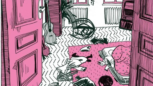 Eine schwarz-rosa-weisse Comic-Illustration: Ein unordentliches Schlafzimmer.