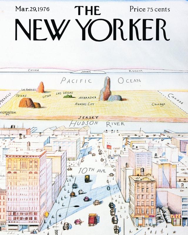 Ein Titelbild der Zeitschrift «The New Yorker» zeigt die Welt aus der Perspektive der 9th Avenue.