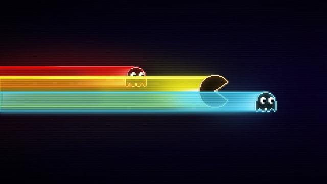 Die Figuren aus Pacman auf schwarzen Hintergrund