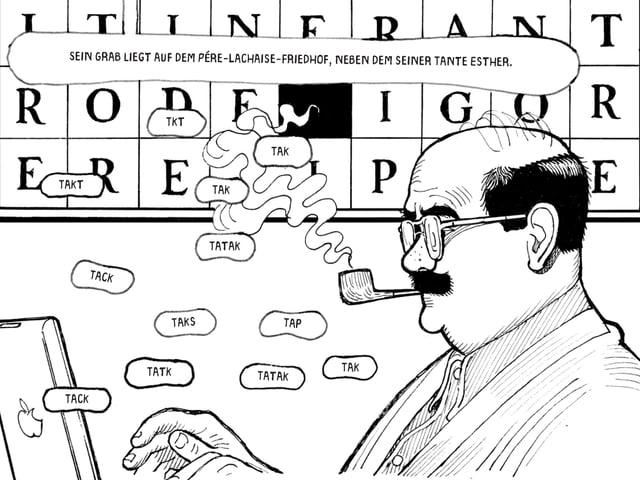 Eine schwarzweiss Zeichnung eines Kreuzworträstels