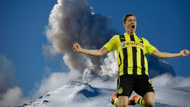 Robert Lewandowski konnte wegen eines Vulkanausbruchs 2010 nicht nach England fliegen.
