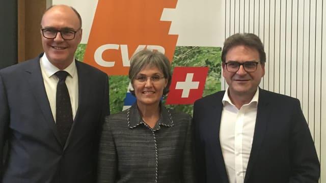 Die Zuger CVP kämpft mit Martin Pfister (links), Silvia Thalmann und Beat Villiger Sitze im Regierungsrat.