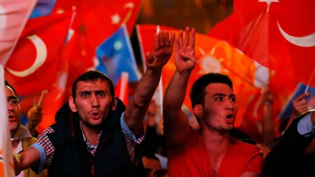 Anhänger der islamisch-konservativen AKP schwingen türkische Fahnen