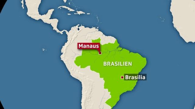 Weltkarte mit Manaus drauf.
