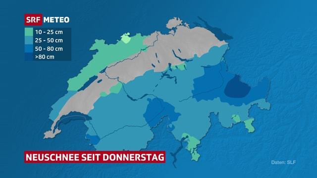 Die Karte zeigt die Neuschneemengen der vergangenen drei Tage. Der Hotspot: Prättigau und Landwassertal in Graubünden.