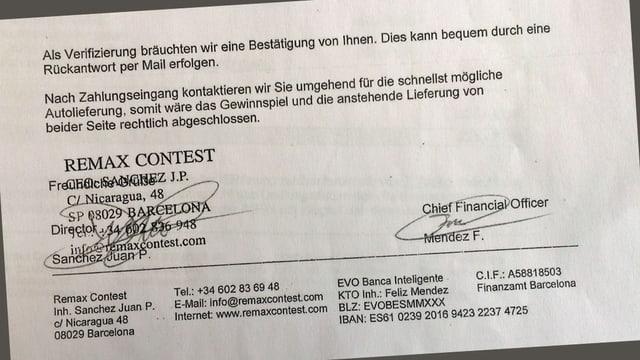 Auszug aus einem offiziellen Brief.