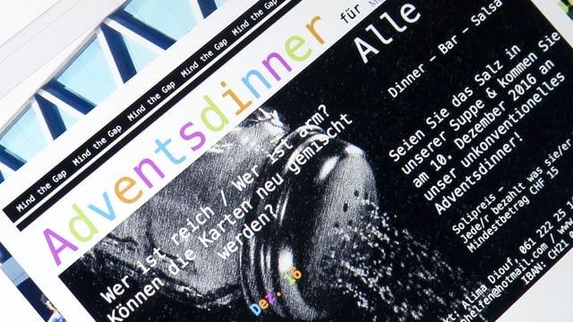 Der Screen eines Tablets, auf dem die Website www.migrantenhelfen.ch aufgerufen wurde.