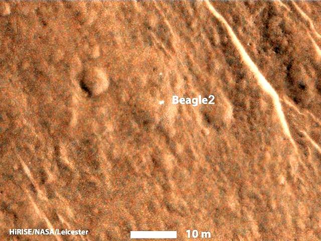 Bild der Marsoberfläche mit Kennzeichnung der Landestelle des Marsroboters «Beagle 2»