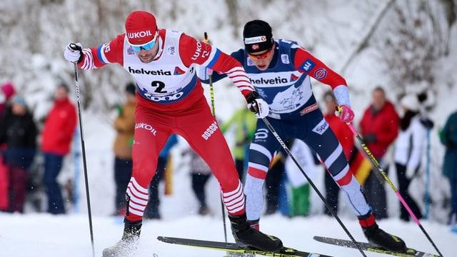Il duel final è stà Ustiugov cunter Klaebo - cun la meglra fin per il Norvegiais.