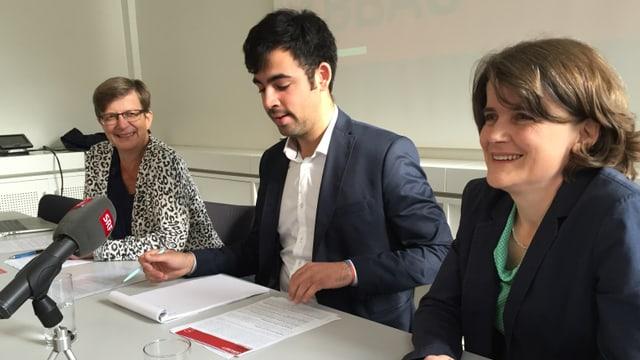 Die Spitze der Baselbieter SP mit Regula Meschberger, Adil Koller und Kathrin Schweizer