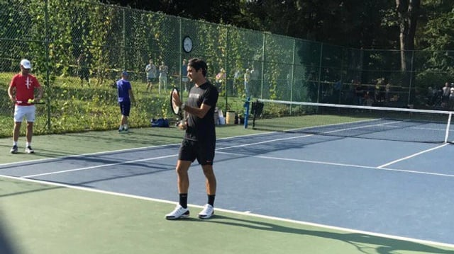Roger Federer trainiert im Central Park von New York.
