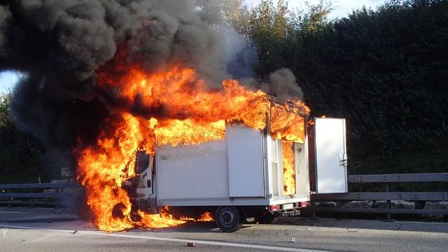 Brennender Kleintransporter auf dem Pannenstreifen