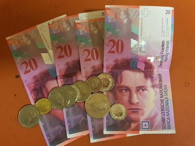 Vier 20er-Noten und Münzen.