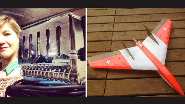 Die Flohmarkt-Stafette ist in vollem Gange: SRF 3 Hörer Matthias Meier bietet für Anic's Toaster einen Modellflieger.
