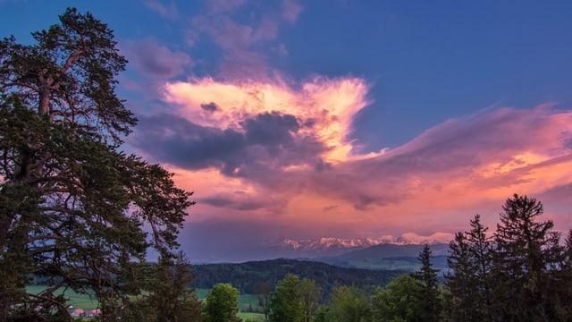 Eine Gewitterwolke in den Alpen leuchtet in der Abendsonne rötlich.
