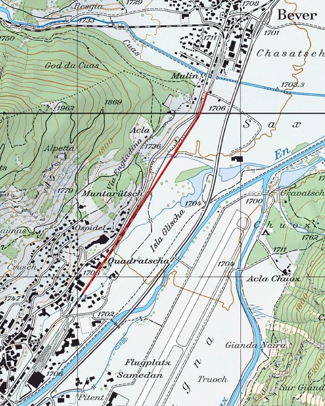 Purtret d'ina carta geografica che mussa cun cotschen il traject che vegn schlargià.