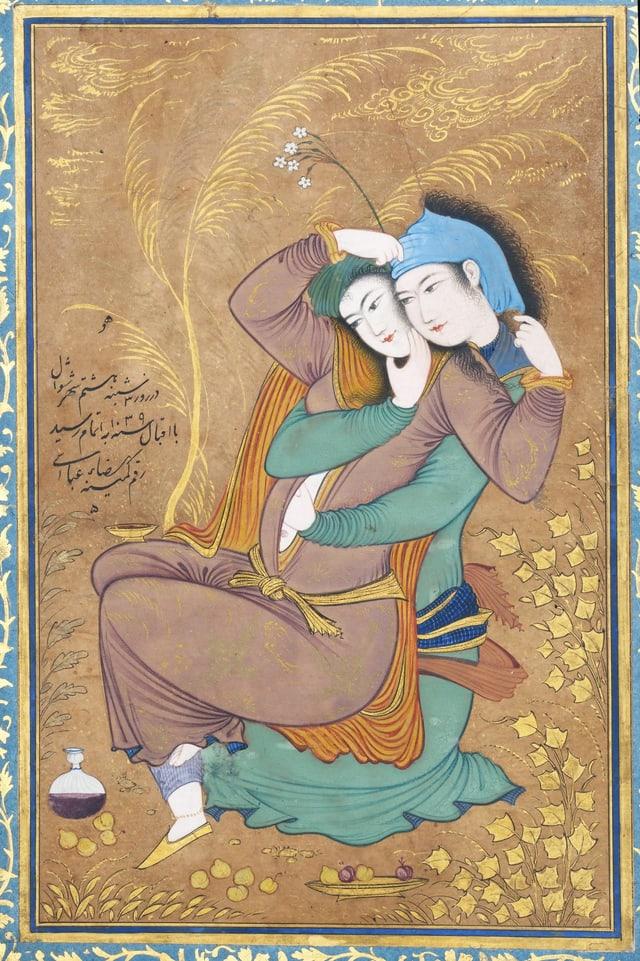 Ein Gemälde: zwei Menschen umarmen sich und fassen sich unter die Kleidung.