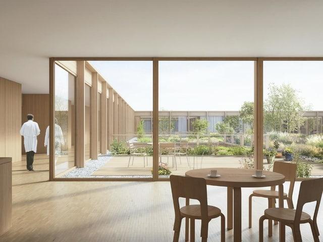 Visualisierung eines geplanten Gebäudes mit grossen Fenstern und Möbeln im Vordergrund.