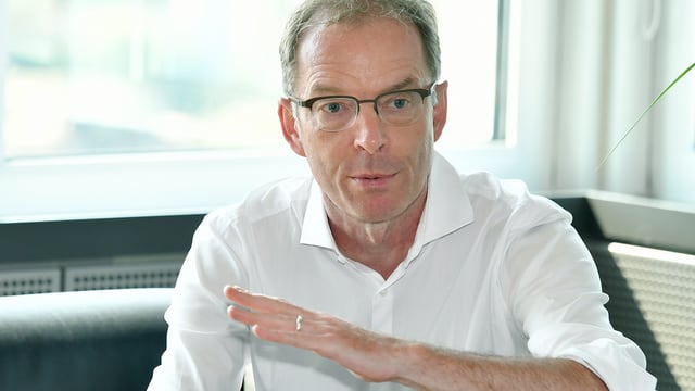 Portrait Daniel Leupi mit einer Geste, die einen Anstieg anzeigt.