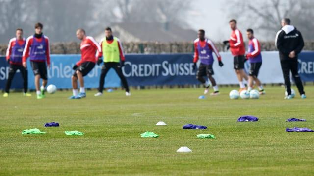 Die Schweizer Fussball-Nationalmannschaft beim Training
