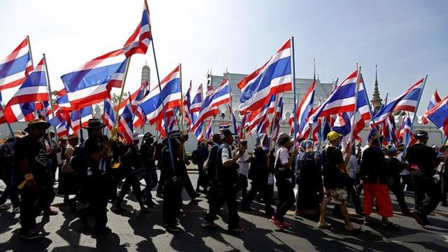 Demonstranten laufen mit wehenden Fahnen durch die Strassen Thailands