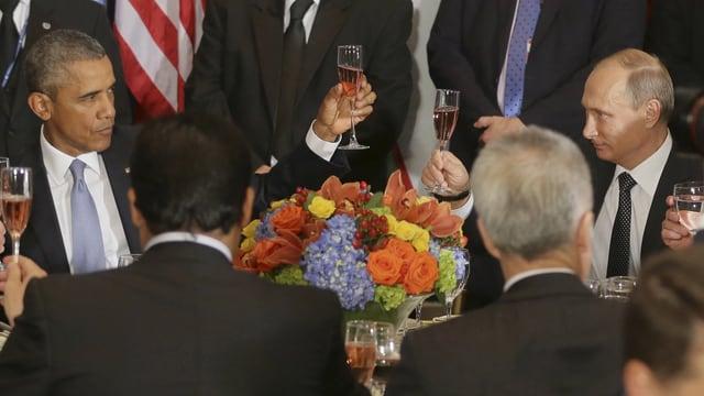 Obama und Putin beim Diner an der 77. UNO-Vollversammlung.