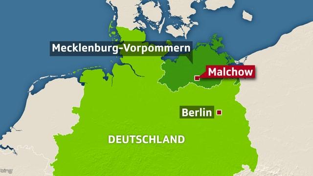 Malchow befindet sich im Bundesland Mecklenburg-Vorpommern bei Rostock.