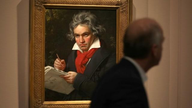 Bild von Ludwig van Beethoven in einem Museum.