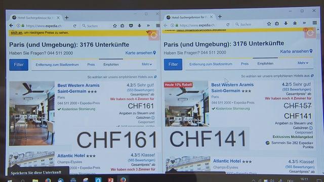 Vergleich zweier Bildschirmseiten.