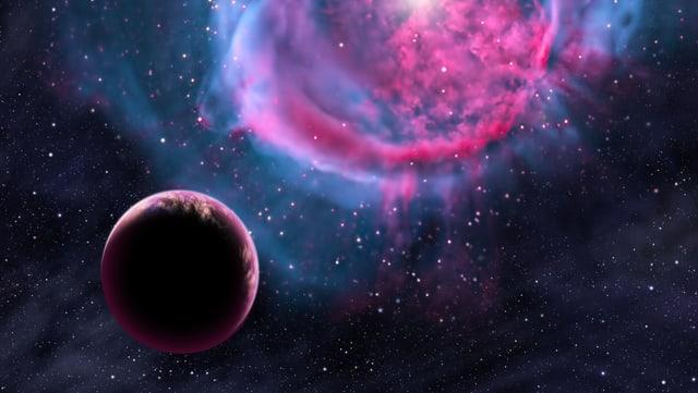 Künstlerische Darstellung eines Planeten vor einem Planetennebel.