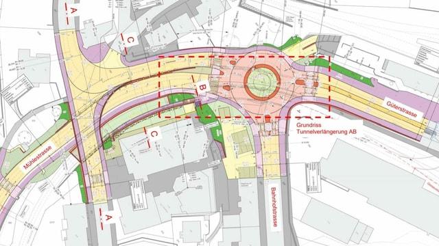 Situationsplan des geplanten Projekts