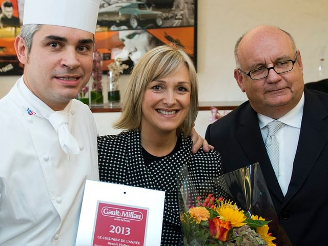 Benoit Violier (links), seine Frau Brigitte und Urs Heller.