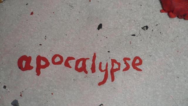 Blutrote Schrift mit dem Wort «apocalypse»