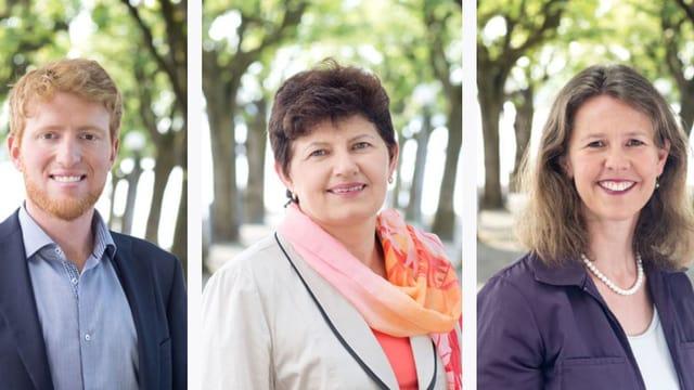 Porträts der Zuger Politiker Andreas Lustenberger, Hanni Schriber und Astrid Estermann.