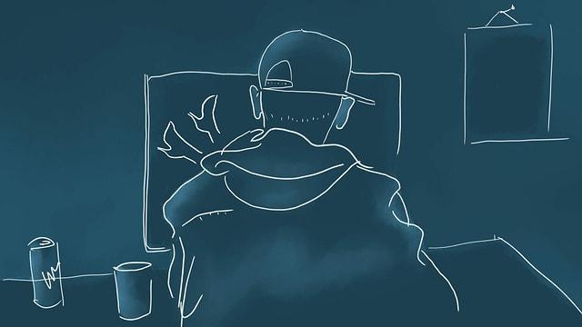 eine Illustration eines Teenagers, der am Laptop einen Porno schaut